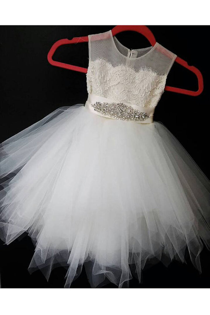 Cute ivory organza A-line sequins short girls dress  with straps - Sweetheartgirls