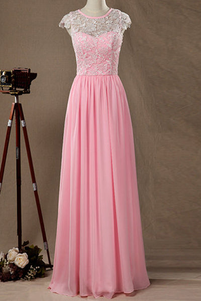 Cute pink chiffon lace top round neck cap sleeves full-length formal dresses - prom dresses 2018
