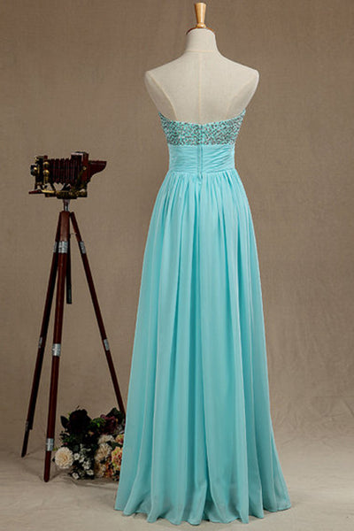 Baby blue chiffon sweetheart sequins top A-line long dress formal dresses - prom dresses 2018