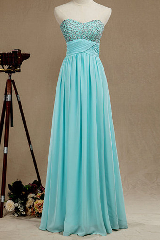 2019 Prom Dresses | Baby blue chiffon sweetheart sequins top A-line long dress formal dresses