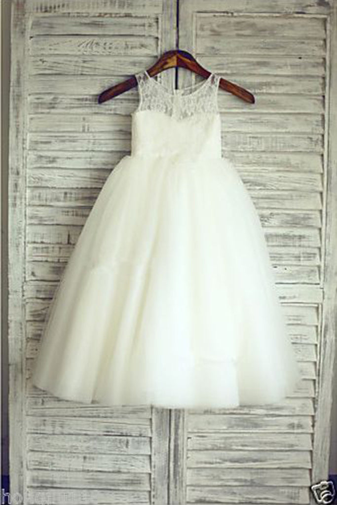 Sweet 16 Dresses | White organza cute A-line lace round neck princess girls dress  with straps