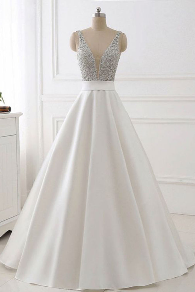 Beautiful white satin V neck long halter sweet 16 prom dress, long ...