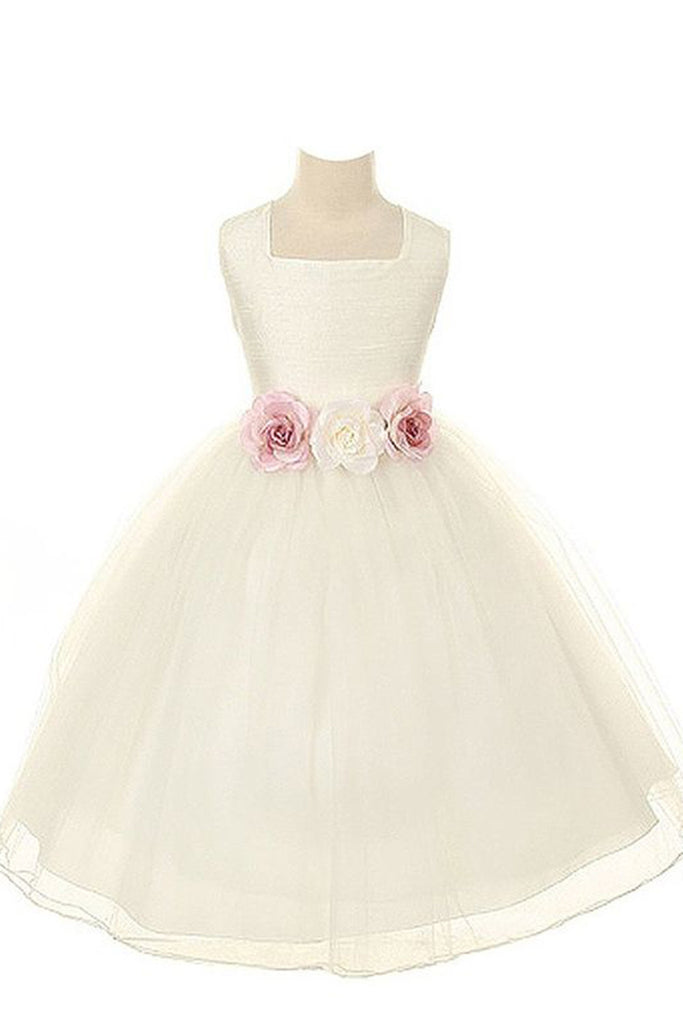 Princess ivory organza A-line handmade flowers applique girls dress  with straps - occasion dresses by Sweetheartgirls