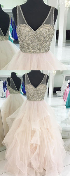 2019 Prom Dresses | Creamy tulle V neck long halter ruffles formal prom dress, silver beaded evening dress
