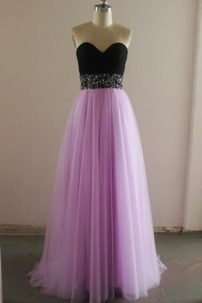 Lavander tulle sweetheart sequins sash black top A-line long dress formal dresses - prom dresses 2018
