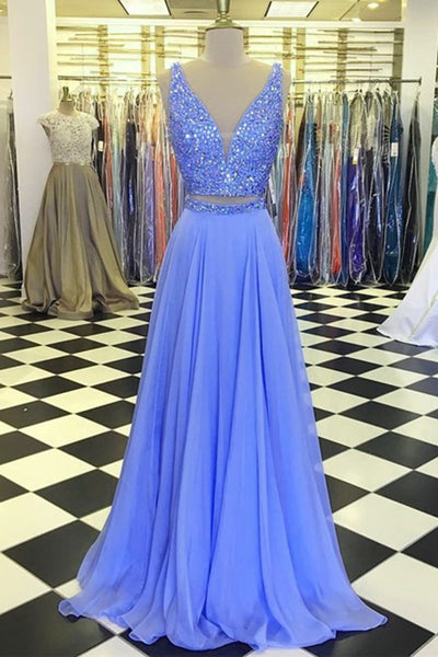 Sweet 16 Dresses | Stylish long chiffon two pieces beaded homecoming, halter prom dresses