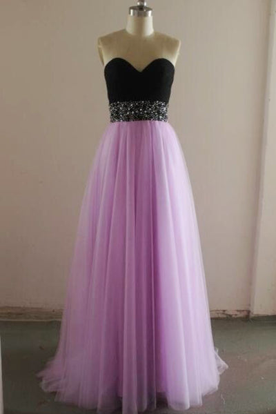 Sweet 16 Dresses | Lavander tulle sweetheart sequins sash black top A-line long dress formal dresses