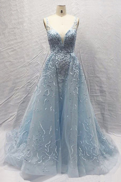 Sweet 16 Dresses | 2019 Light blue tulle V neck A-line customize new brand evening dress, formal prom dress