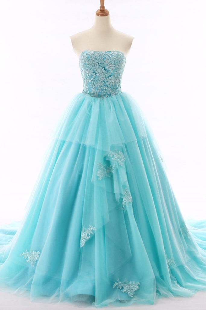 5b039649fc Unique light blue tulle sweetheart neckline beaded prom gown