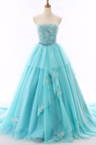 Unique light blue tulle sweetheart neckline beaded prom gown, long tulle lace evening dress