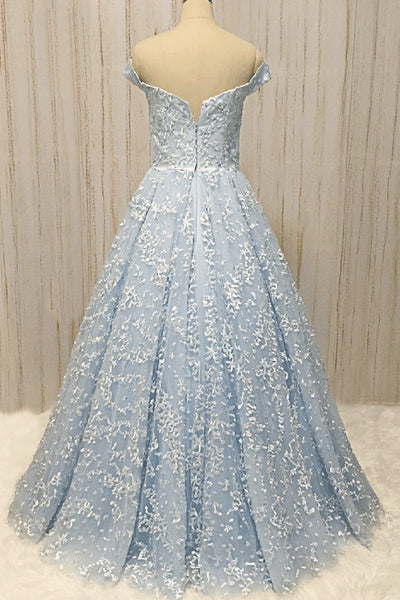2019 Long Prom Dresses | Baby Blue Lace Off Shoulder Long A Line Formal Prom Dress, Long Evening Dress