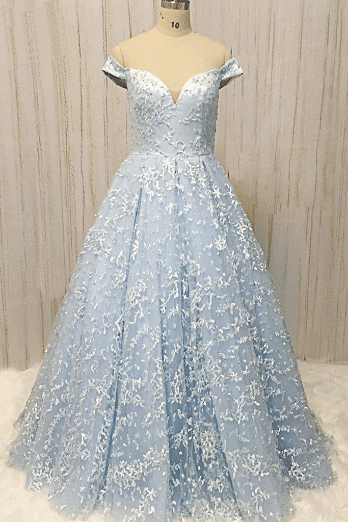 Sweet 16 Dresses | Baby Blue Lace Off Shoulder Long A Line Formal Prom Dress, Long Evening Dress