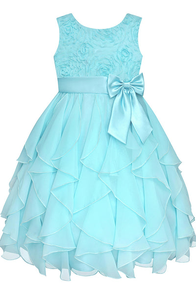 Baby blue chiffon lace A-line bowknot  girls dress  with straps - occasion dresses by Sweetheartgirls