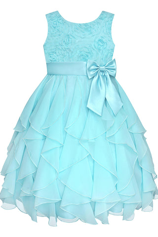 2018 evening gowns - Baby blue chiffon lace A-line bowknot  girls dress  with straps