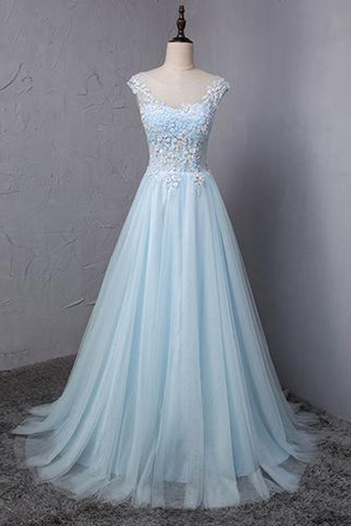 Light Blue Tulle Scoop Neck A Line Long Sweet 16 Prom Dress Lace