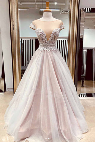 Nude Pink Tulle Cap Sleeve Long Lace A Line Prom Dress For Teens
