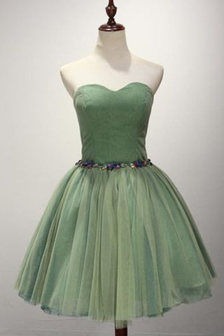 Green tulle sweetheart neck short beaded prom dress, short bridesmaid dress
