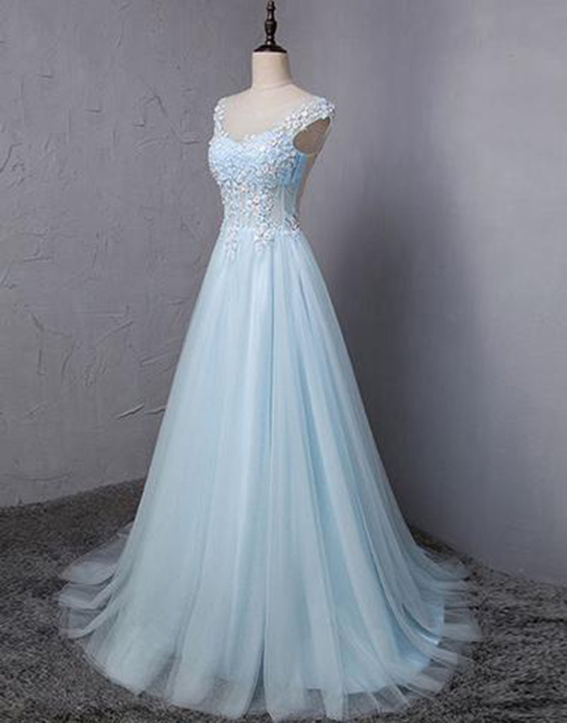 Light blue tulle scoop neck A-line long sweet 16 prom dress, lace ...