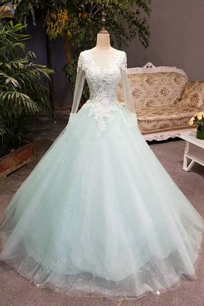 c18a4ddc99c Unique mint tulle long lace top winter prom dress with sleeves