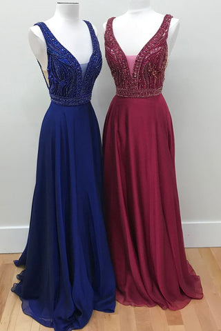Luxurious beads bodice long chiffon prom dress, long navy blue,  burgundy evening dress