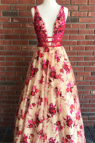 2019 Prom Dresses | Beautiful embroidery lace V neck beaded long evening dress, long A-line red floral party dress