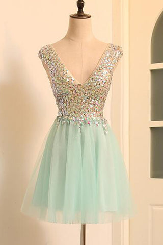 Mint tulle mini v neck prom dress for teens, short beaded prom dress