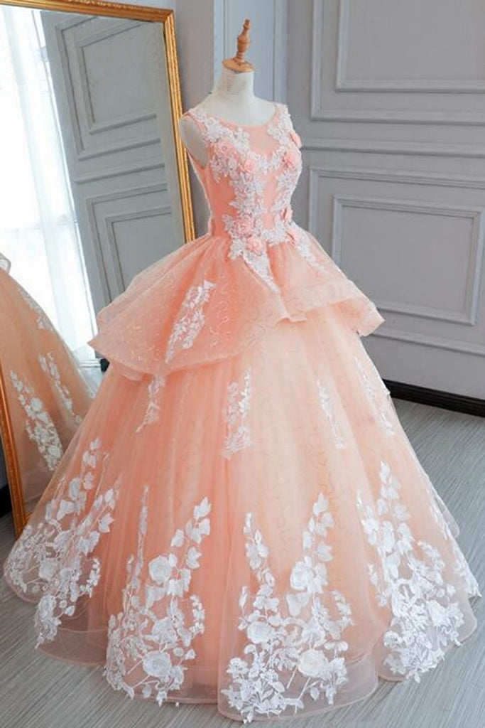 Pink tulle princess round neck long evening dress, long white lace ...