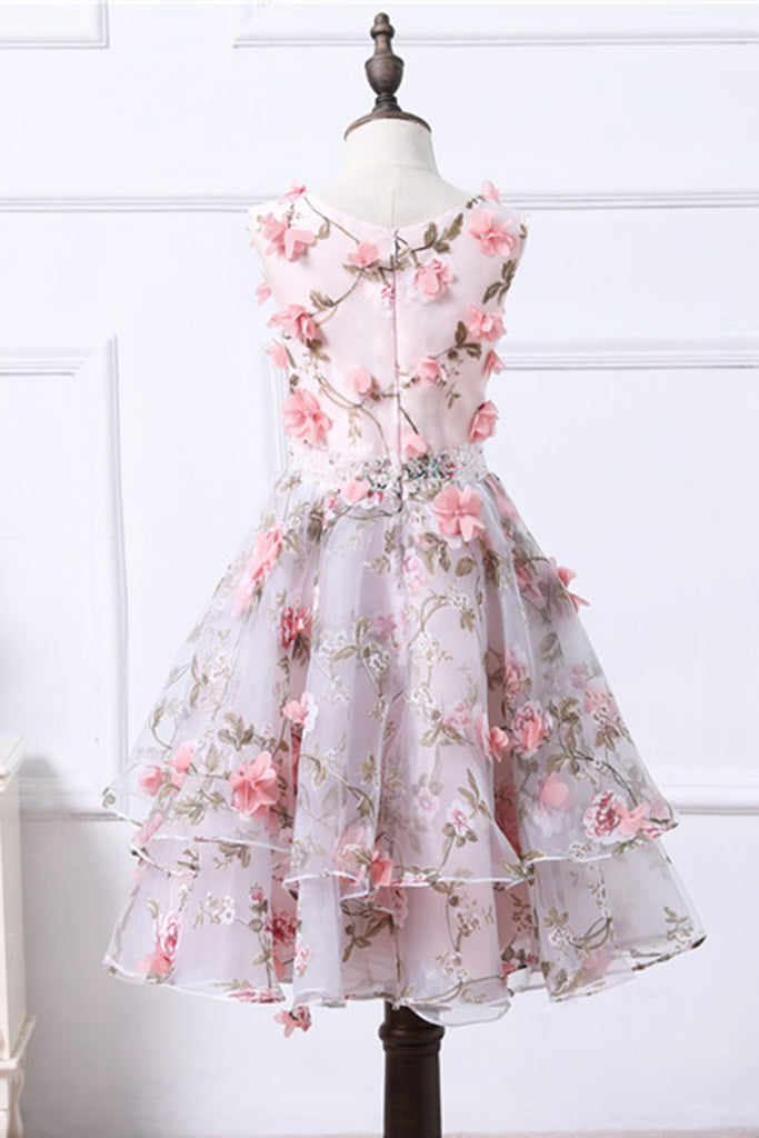 9c77ba21b53 Cute floral organza puffy girls dress with pink flower appliques