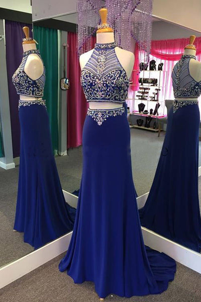 Navy blue chiffon two pieces beading see-through halter train long dresses,floor-length dresses - prom dresses 2018