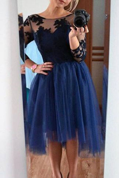 Dark blue tulle black lace long sleeves round short dress,formal dresses - prom dresses 2018