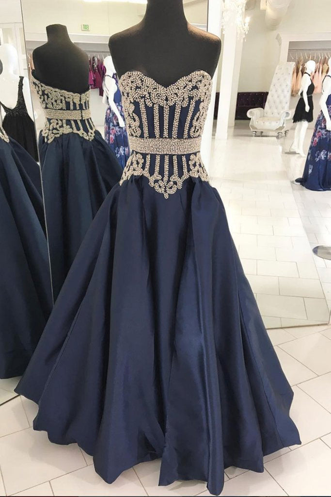 Sweet 16 Dresses | 2019 Navy blue satin sweetheart long A-line gold beaded evening dress, prom dress