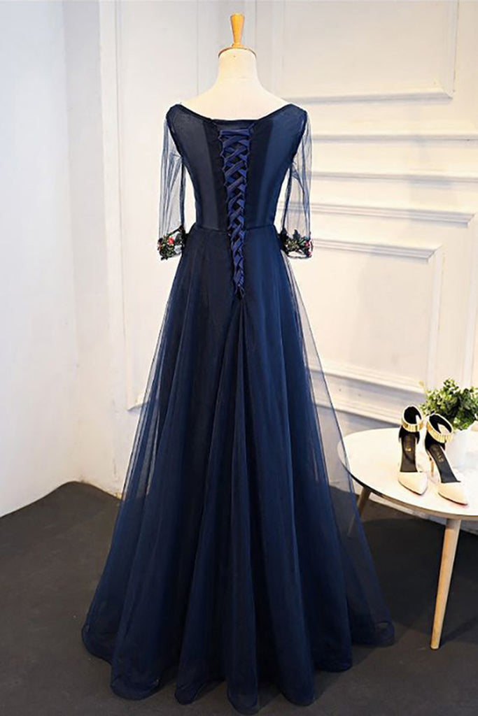 Navy Blue Tulle A Line Floor Length Formal Dress With Sleeves Long