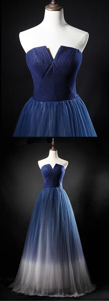 2019 Prom Dresses | 2019 real picture navy blue tulle long a line homecoming dress, strapless prom dress