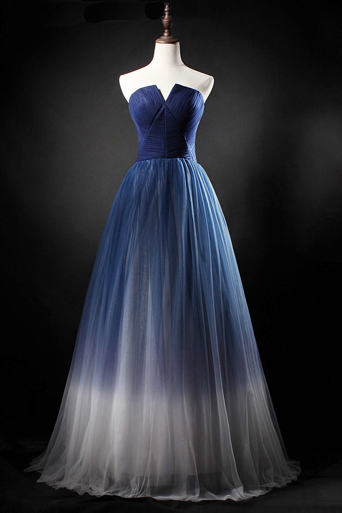 Sweet 16 Dresses | 2019 real picture navy blue tulle long a line homecoming dress, strapless prom dress