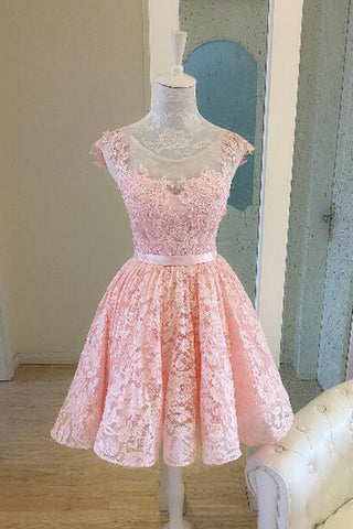 Pink Lace Short Prom Dress, New Lace Appliques Bridesmaid Dress