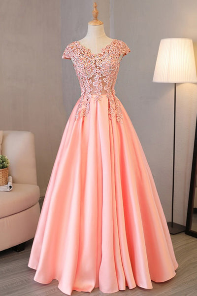 Sweet 16 Dresses | Pink satin long cap sleeves beading and sequins senior prom dress, V neck long evening dress
