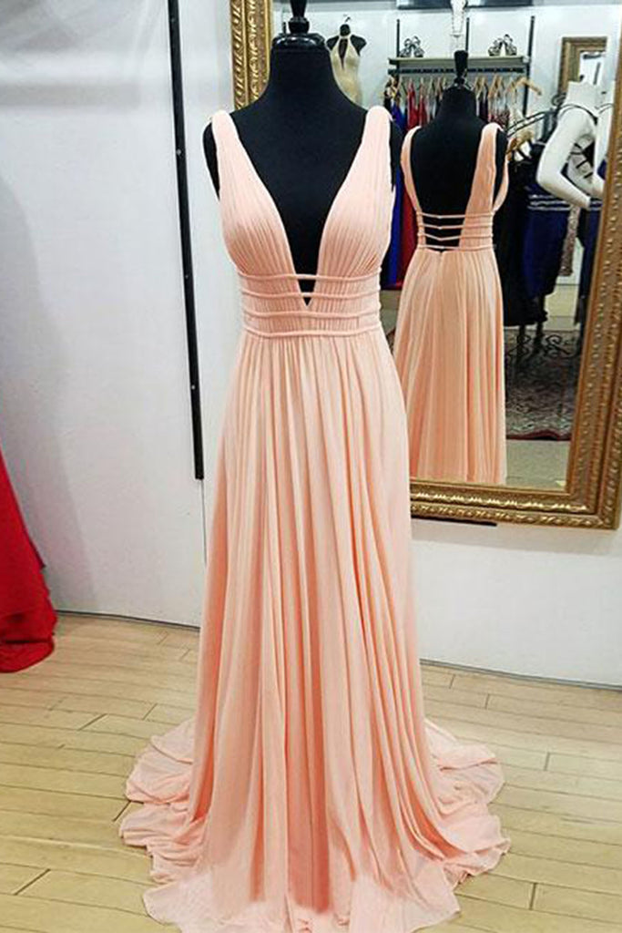Pink chiffon hollow out open back long A-line customize prom dresses ...