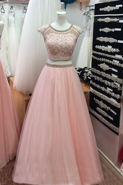 Princess pink tulle two pieces formal dresses,long dress,cute round neck dress - prom dresses 2018