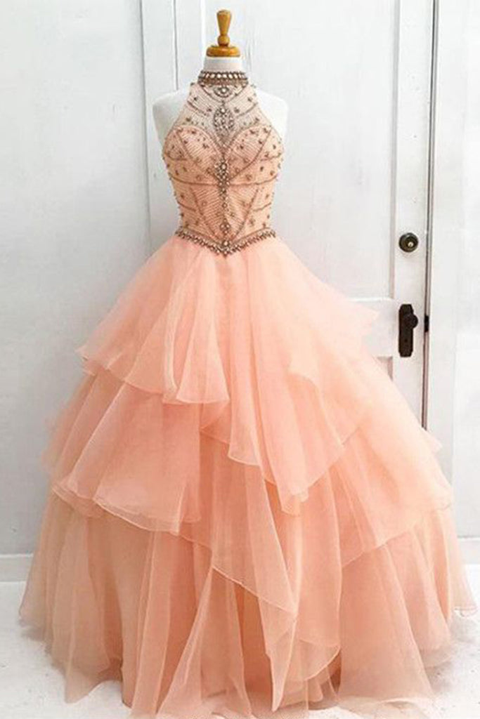 Sweet 16 Dresses | Gorgeous pink tulle high neck strapless open back long evening dress