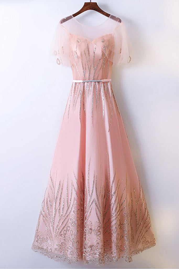 Sweet 16 Dresses | Blush pink tulle scoop neck long beaded formal prom dress with sleeve