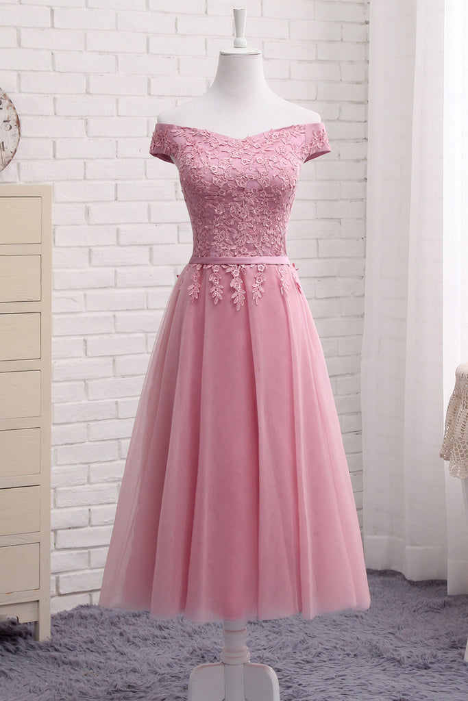 Sweet 16 Dresses | Pink tulle tea length A-line prom dress, appliqués homecoming dress