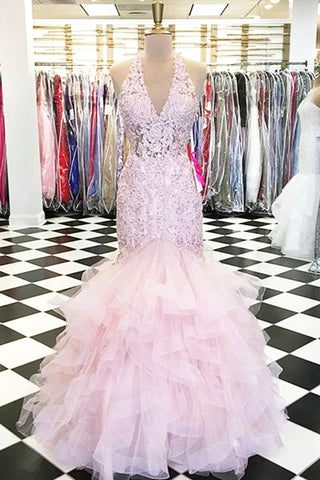 Pink lace V neck long mermaid evening dress, pink tulle ruffles prom dress