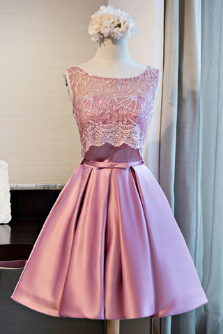 Cute pink lace short satin prom dress for teens, lace up bridesmaid dress