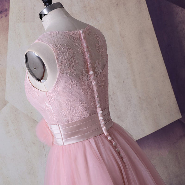 Sweet 16 Dresses | Pink tulle short round neckline bridesmaid dress with flowers, short lace party dress