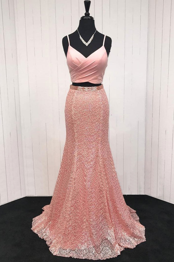 Pink lace V neck spaghetti straps two piece long mermaid homecoming ...