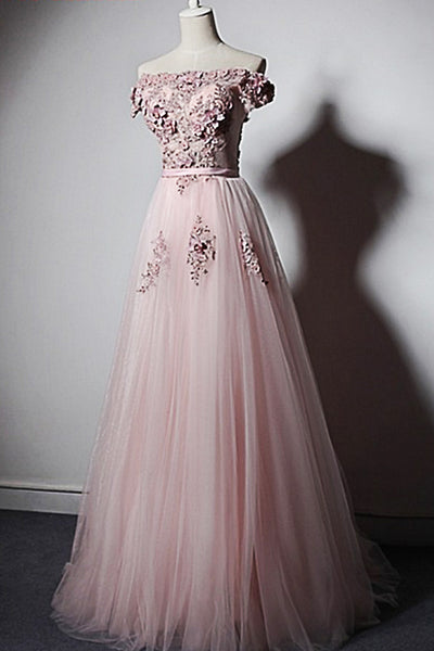 Sweet 16 Dresses | Pink tulle long spring A-line 3D lace flower off shoulder sweet 16 prom dress
