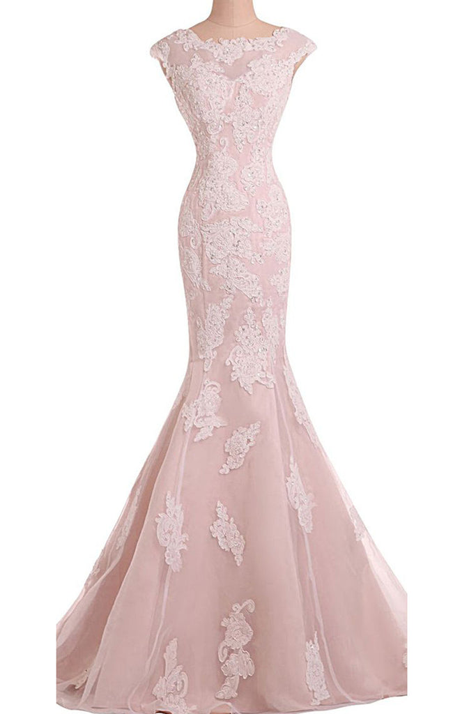 Pink tulle chiffon satins round neck applique mermaid long prom dress,evening dress - prom dresses 2018