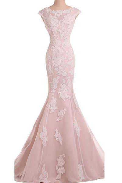 Sweet 16 Dresses | Pink tulle chiffon satins round neck applique mermaid long prom dress,evening dress