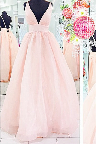 2018 evening gowns - Pink tulle V-neck open back A-line  long prom dresses for teens,elegant evening dress with straps