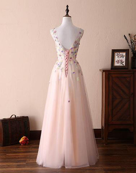 Sweet 16 Dresses | Elegant pink tulle open back long A-line sweet 16 prom dress, long 3D flower appliqués graduation dress